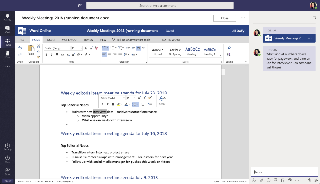 Microsoft Teams Coauthor Documents